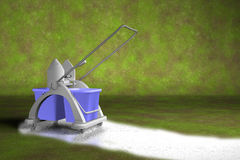 Cleaning cart. Illustration of a blue cleaning cart leaving clean track on filthy background Royalty Free Stock Photography