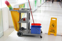 Cleaning Cart. At Shopping Mall royalty free stock photography