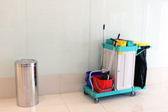 Cleaning Cart. At Shopping Mall royalty free stock image