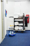 Cleaning cart. A cleaning cart in a hotel Royalty Free Stock Images