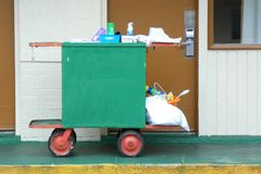 Cleaning Cart. A cleaning cart oute a motel room Stock Photo
