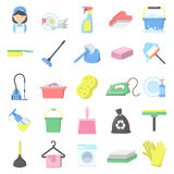 Cleaning 25 cartoon icons set for web. Design Stock Images