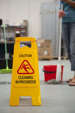 Cleaning Caution Wet Floor Royalty Free Stock Image