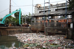 Cleaning Ciliwung River Royalty Free Stock Photo