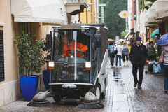 Cleaning the city streets of Sirmione Royalty Free Stock Image