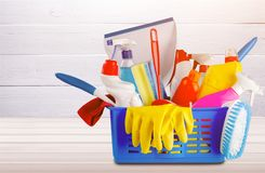 Cleaning. Accessories kit advertising backdrop banner blank royalty free stock image