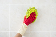 Cleaning - cleaning window pane with detergent, Stock Photo