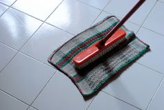 Cleaning clooth and scrubbing brush Stock Photo