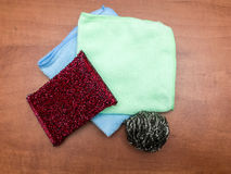 Cleaning clothes and metallic kitchen sponges. Royalty Free Stock Image