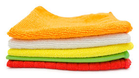 Cleaning cloths. Colorful microfiber cleaning towels, over white background Royalty Free Stock Photos