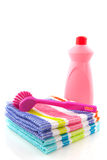 Cleaning cloths brush and liquids Stock Photography