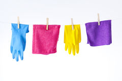Cleaning cloths and gloves Stock Image