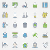 Cleaning colorful icons Stock Photography