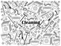 Cleaning colorless set vector illustration. Cleaning design colorless set vector illustration. Coloring book. Black and white line art Royalty Free Stock Photos