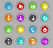 Cleaning company colored plastic round buttons icon set. Cleaning company colored plastic round buttons vector icons for web and user interface design stock illustration