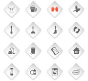 Cleaning company icon set. Cleaning company flat rhombus web icons for user interface design stock illustration