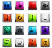 Cleaning company icon set. Cleaning company vector icons in square colored buttons royalty free illustration