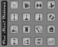 Cleaning company icon set. Cleaning company vector web icons on the flat steel buttons stock illustration