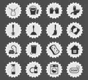 Cleaning company icon set. Cleaning company web icons stylized postage stamp for user interface design royalty free illustration