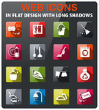 Cleaning company icon set. Cleaning company icons set in flat design with long shadow stock illustration