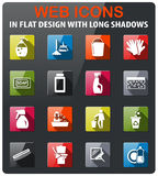 Cleaning company icon set. Cleaning company icons set in flat design with long shadow royalty free illustration