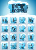 Cleaning company icon set. Cleaning company vector icons frozen in transparent blocks of ice stock illustration