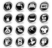 Cleaning company icon set Stock Photos