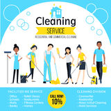 Cleaning Company Poster. With workers and different services in flat style vector illustration Royalty Free Stock Photography