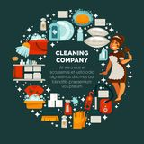 Cleaning company promotional emblem with maid in uniform stock illustration