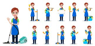 Cleaning company staff in uniform. Woman cartoon character cleaner, set of eleven poses. Vector illustration on white background stock illustration