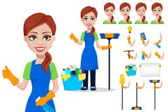 Cleaning company staff in uniform. Woman cartoon character cleaner, set. Pack of body parts, emotions and equipment. Vector illustration stock illustration