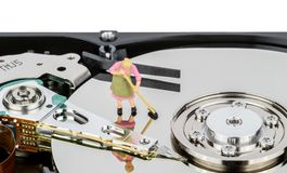 Cleaning Computer Hard Drive Royalty Free Stock Photography