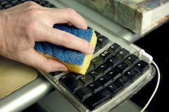 Cleaning Computer Keyboard Stock Image