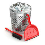 Cleaning concept.Garbage bin, dustpan or scoop and brush. 3d Royalty Free Stock Images