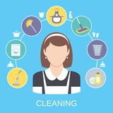 Cleaning Concept. Cleaning household service maid icons composition with dish detergent vacuum cleaner abstract solid isolated vector illustration Royalty Free Stock Image