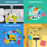 Cleaning Concept Icons Set stock illustration