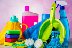 Cleaning concept on saturated bright background Royalty Free Stock Images