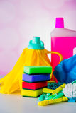 Cleaning concept on saturated bright background Stock Images