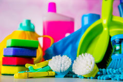 Cleaning concept on saturated bright background Royalty Free Stock Photos