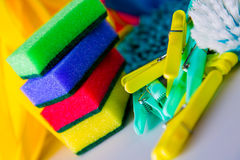 Cleaning concept on saturated bright background Royalty Free Stock Image