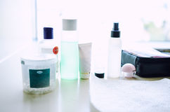 Cleaning cosmetic products Stock Image