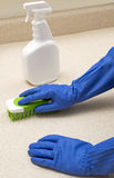 Cleaning Counter With Brush And Spray Bottle Stock Photos