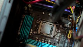Cleaning the CPU from dust with a vacuum cleaner.