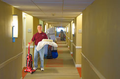 Cleaning crew hotel staff working Stock Image