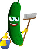 Cleaning cucumber or pickle Stock Photo
