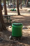 Garbage collection in the forest Stock Photo