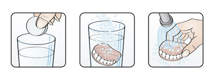 Cleaning denture instructions illustration. Cleaning denture instructions set of three illustrations Stock Image