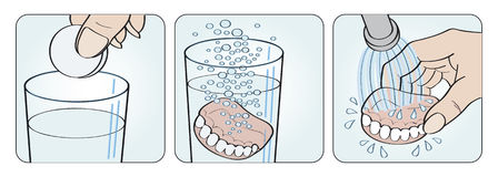 Cleaning denture instructions illustration. Cleaning denture instructions set of three illustrations Royalty Free Stock Photo