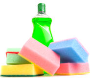 Cleaning Detergent and Sponges VIII Royalty Free Stock Photos