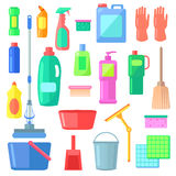 Cleaning. Different Icons of Cleaning Mean Kinds. Bucket, gloves, duster, detergent, brush, mop, broom, wiper, spray sponge soapsweeping White background Flat Stock Image